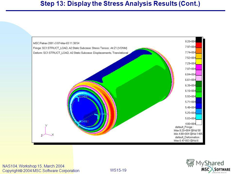 WS15-19 NAS104, Workshop 15, March 2004 Copyright 2004 MSC.Software Corporation Step 13: Display the Stress Analysis Results (Cont.)
