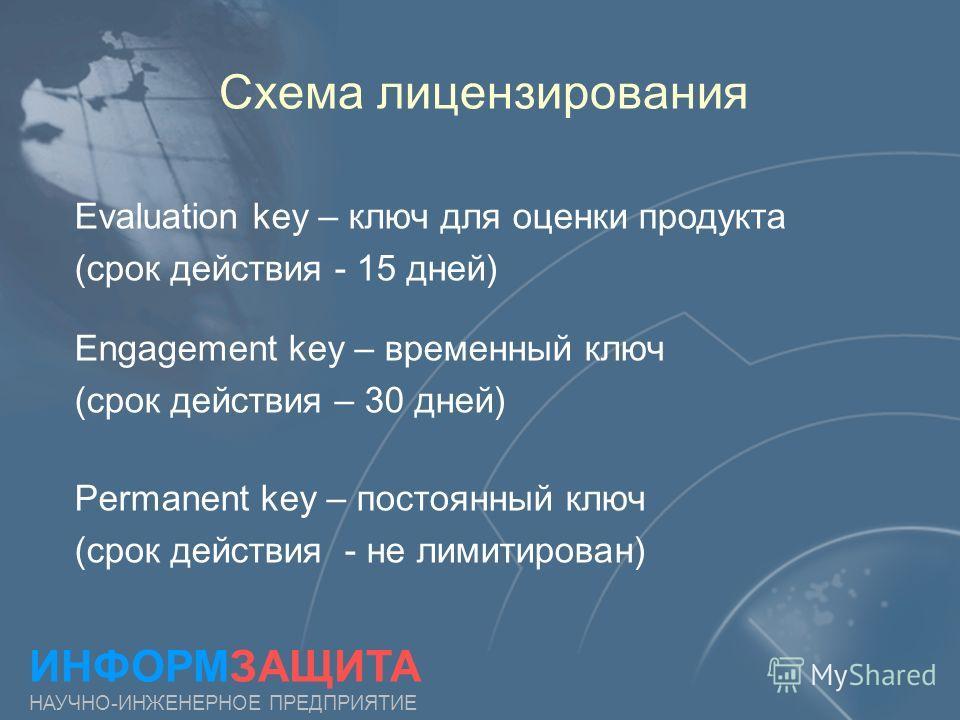 Схема лицензирования Evaluation key – ключ для оценки продукта (срок действия - 15 дней) Permanent key – постоянный ключ (срок действия - не лимитирован) ИНФОРМЗАЩИТА НАУЧНО-ИНЖЕНЕРНОЕ ПРЕДПРИЯТИЕ Engagement key – временный ключ (срок действия – 30 д