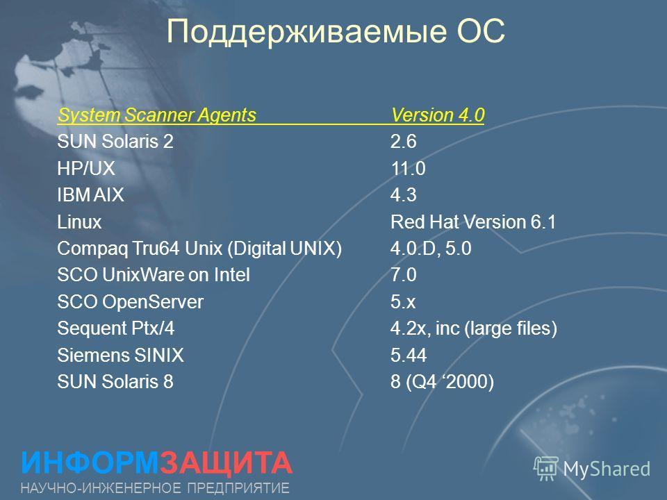 Поддерживаемые ОС ИНФОРМЗАЩИТА НАУЧНО-ИНЖЕНЕРНОЕ ПРЕДПРИЯТИЕ System Scanner AgentsVersion 4.0 SUN Solaris 22.6 HP/UX 11.0 IBM AIX 4.3 Linux Red Hat Version 6.1 Compaq Tru64 Unix (Digital UNIX)4.0.D, 5.0 SCO UnixWare on Intel7.0 SCO OpenServer 5. x Se