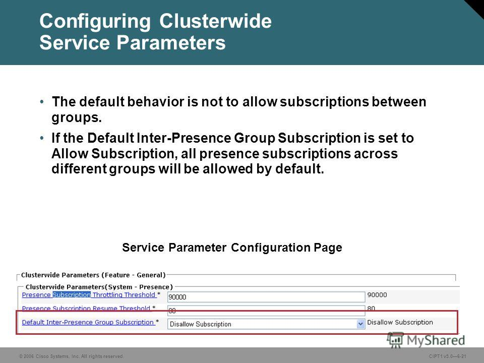 © 2006 Cisco Systems, Inc. All rights reserved. CIPT1 v5.06-21 Configuring Clusterwide Service Parameters The default behavior is not to allow subscriptions between groups. If the Default Inter-Presence Group Subscription is set to Allow Subscription