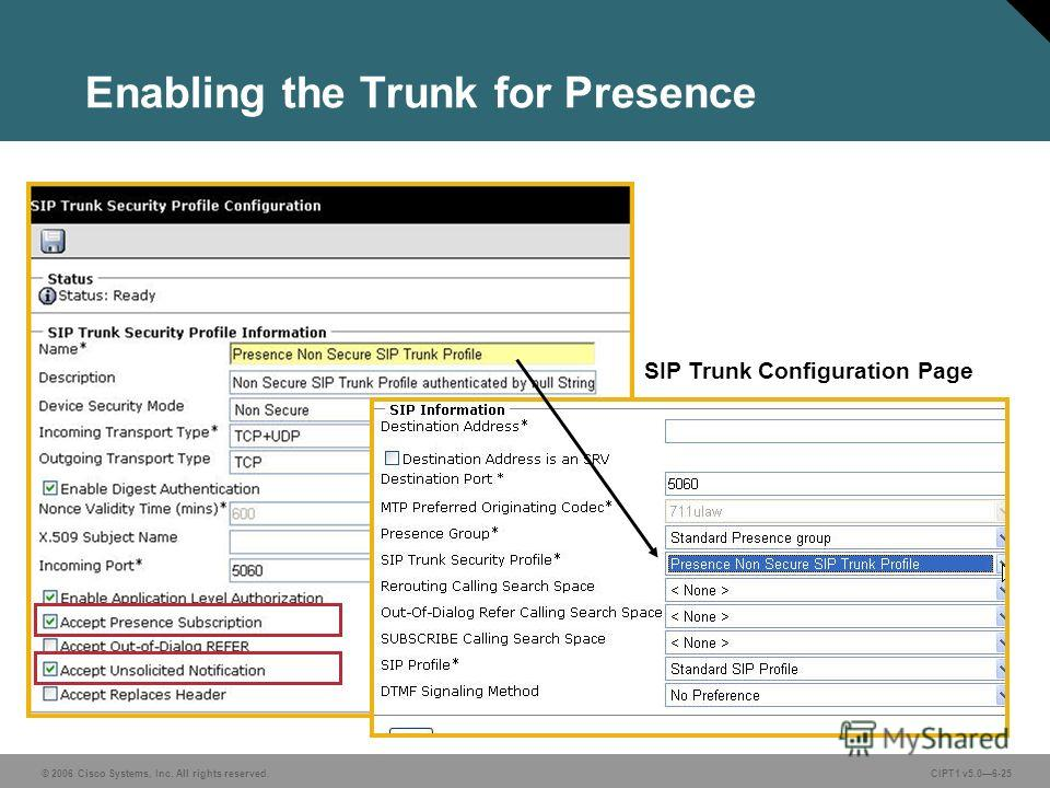 © 2006 Cisco Systems, Inc. All rights reserved. CIPT1 v5.06-25 Enabling the Trunk for Presence SIP Trunk Configuration Page
