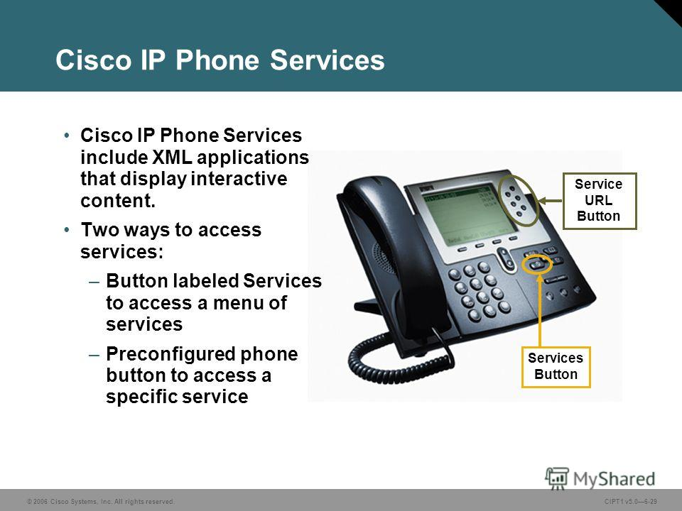 © 2006 Cisco Systems, Inc. All rights reserved. CIPT1 v5.06-29 Cisco IP Phone Services Services Button Service URL Button Cisco IP Phone Services include XML applications that display interactive content. Two ways to access services: –Button labeled
