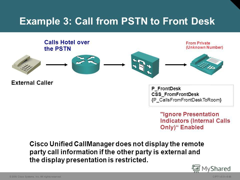 © 2006 Cisco Systems, Inc. All rights reserved. CIPT1 v5.06-46 Example 3: Call from PSTN to Front Desk P_FrontDesk CSS_FromFrontDesk {P_CallsFromFrontDeskToRoom} Calls Hotel over the PSTN From Private (Unknown Number) Cisco Unified CallManager does n
