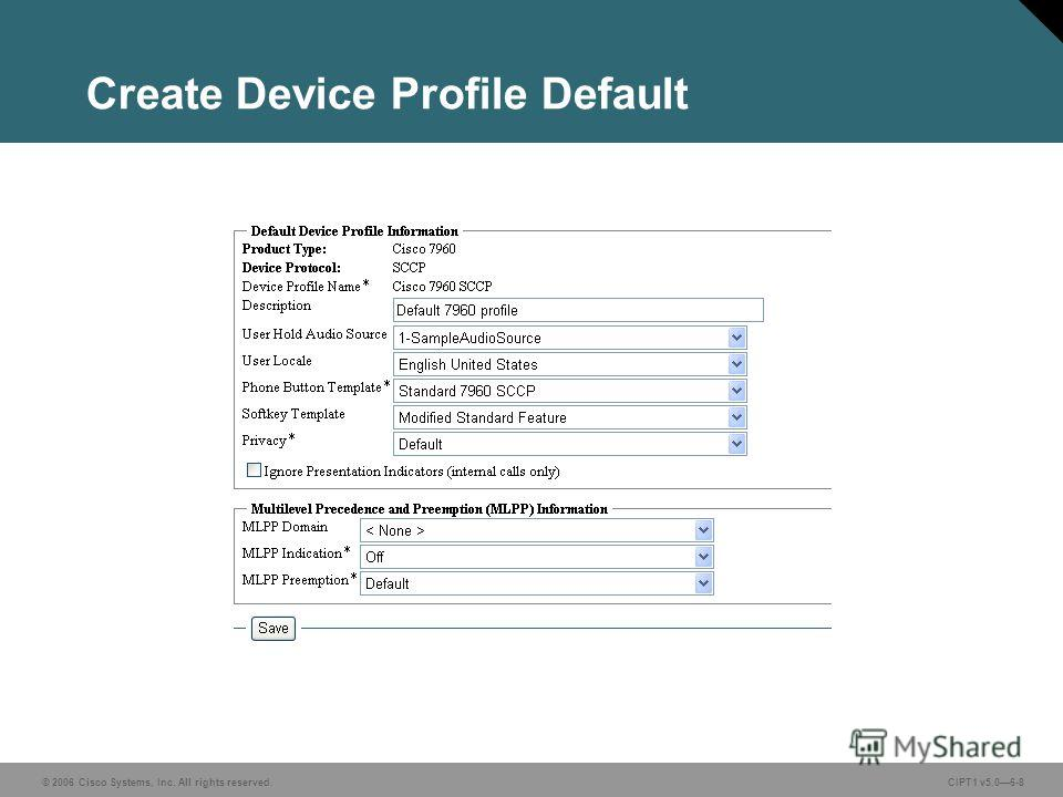 © 2006 Cisco Systems, Inc. All rights reserved. CIPT1 v5.06-8 Create Device Profile Default