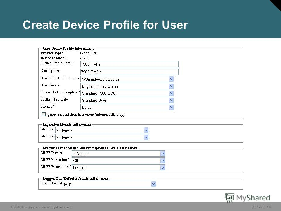© 2006 Cisco Systems, Inc. All rights reserved. CIPT1 v5.06-9 Create Device Profile for User