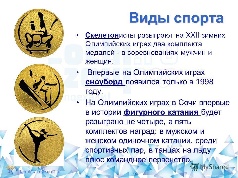 Виды спорта Скелетонисты разыграют на XXII зимних Олимпийских играх два комплекта медалей - в соревнованиях мужчин и женщин. Впервые на Олимпийских играх сноуборд появился только в 1998 году. На Олимпийских играх в Сочи впервые в истории фигурного ка
