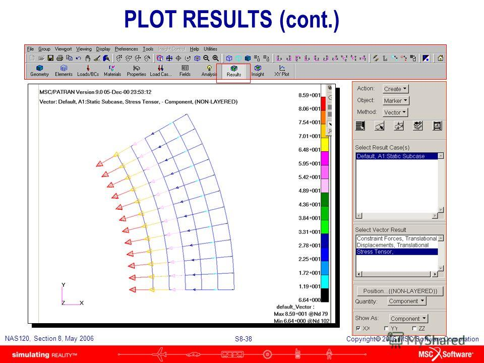 S8-38 NAS120, Section 8, May 2006 Copyright 2006 MSC.Software Corporation PLOT RESULTS (cont.)