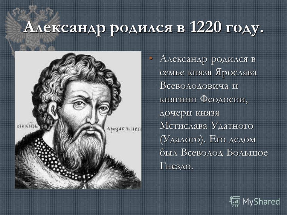 Александр родился в 1220 году. Александр родился в семье князя Ярослава Всеволодовича и княгини Феодосии, дочери князя Мстислава Удатного (Удалого). Его дедом был Всеволод Большое Гнездо.Александр родился в семье князя Ярослава Всеволодовича и княгин