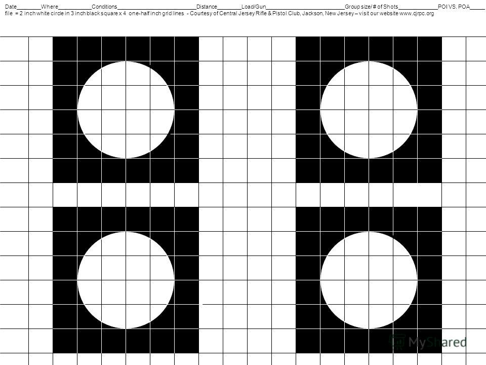Date________Where___________Conditions__________________________Distance________Load/Gun__________________________Group size/ # of Shots_____________POI VS. POA_____ file = 2 inch white circle in 3 inch black square x 4 one-half inch grid lines - Cou