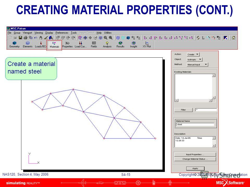 S4-14 NAS120, Section 4, May 2006 Copyright 2006 MSC.Software Corporation n Creating Material Properties u The architect has selected steel tubing as the construction material. u The material properties are as follows: l E = 30 x 10 6 psi = 0.3 l Ten
