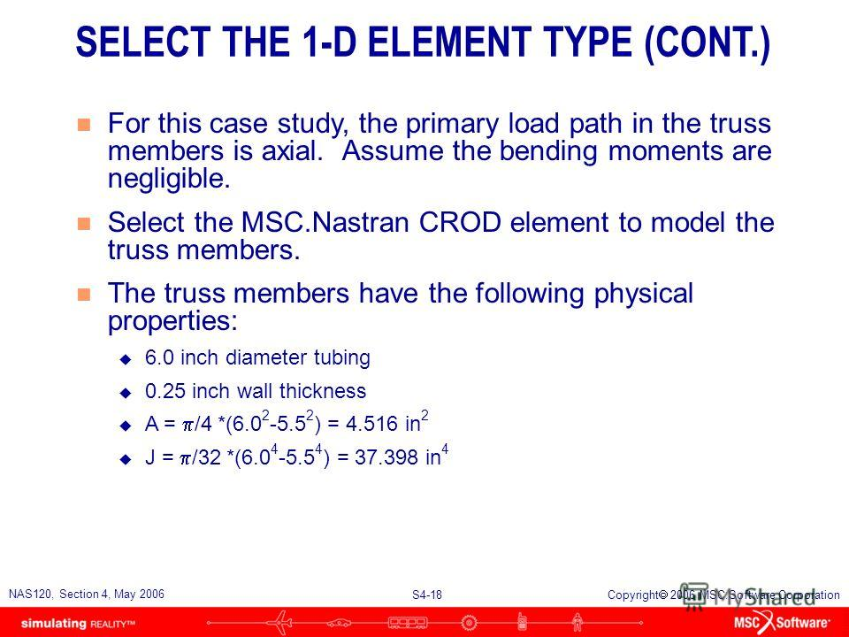 S4-17 NAS120, Section 4, May 2006 Copyright 2006 MSC.Software Corporation n Following are the most commonly used one- dimensional elements in MSC.Nastran: u CROD, CONROD, CTUBE:Pin-ended rod (4 DOFs) u CBAR:Prismatic beam (12 DOFs) u CBEAM:Straight b