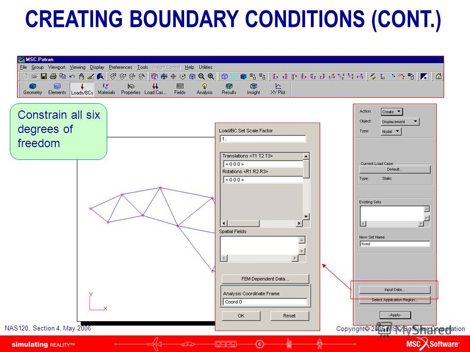 S4-29 NAS120, Section 4, May 2006 Copyright 2006 MSC.Software Corporation Create a boundary condition named fixed CREATING BOUNDARY CONDITIONS