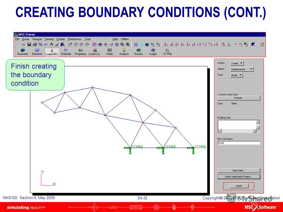 S4-31 NAS120, Section 4, May 2006 Copyright 2006 MSC.Software Corporation Select the base of the truss CREATING BOUNDARY CONDITIONS (CONT.)