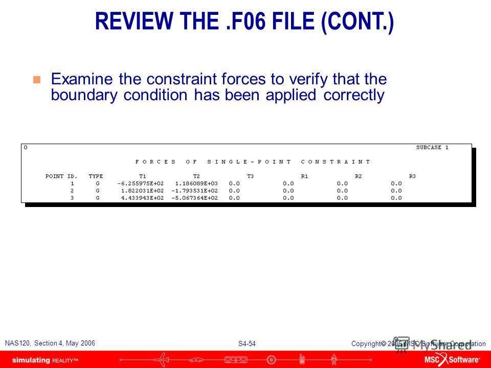 S4-53 NAS120, Section 4, May 2006 Copyright 2006 MSC.Software Corporation n Open the.f06 file with a text editor. n Check the total applied load against the total reaction load Total applied load Total reaction load REVIEW THE.F06 FILE