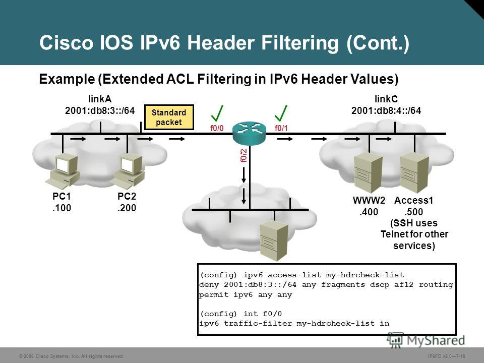 © 2006 Cisco Systems, Inc. All rights reserved.IP6FD v2.07-18 Example (Extended ACL Filtering in IPv6 Header Values) Cisco IOS IPv6 Header Filtering (Cont.) (config) ipv6 access-list my-hdrcheck-list deny 2001:db8:3::/64 any fragments dscp af12 routi