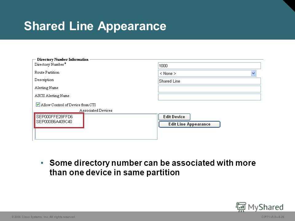 © 2006 Cisco Systems, Inc. All rights reserved. CIPT1 v5.06-26 Shared Line Appearance Some directory number can be associated with more than one device in same partition