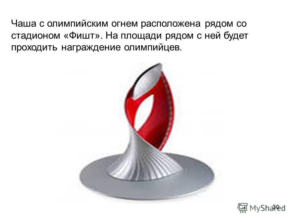 Чаша с олимпийским огнем расположена рядом со стадионом «Фишт». На площади рядом с ней будет проходить награждение олимпийцев. 30