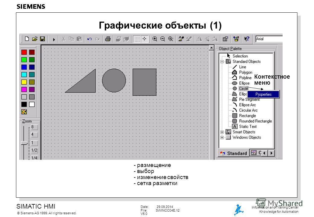 SIMATIC HMI Siemens AG 1999. All rights reserved.© Information and Training Center Knowledge for Automation Date: 29.09.2014 File:SWINCC04E.12 V5.0 Графические объекты (1) - размещение - выбор - изменение свойств - сетка разметки Контекстное меню