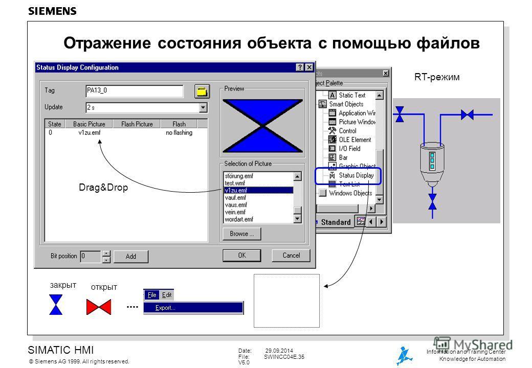 SIMATIC HMI Siemens AG 1999. All rights reserved.© Information and Training Center Knowledge for Automation Date: 29.09.2014 File:SWINCC04E.35 V5.0 Отражение состояния объекта с помощью файлов закрыт открыт RT-режим Drag&Drop