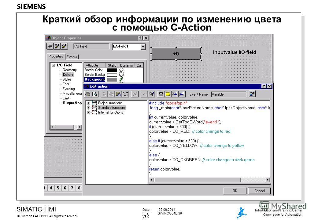 SIMATIC HMI Siemens AG 1999. All rights reserved.© Information and Training Center Knowledge for Automation Date: 29.09.2014 File:SWINCC04E.38 V5.0 Краткий обзор информации по изменению цвета с помощью C-Action