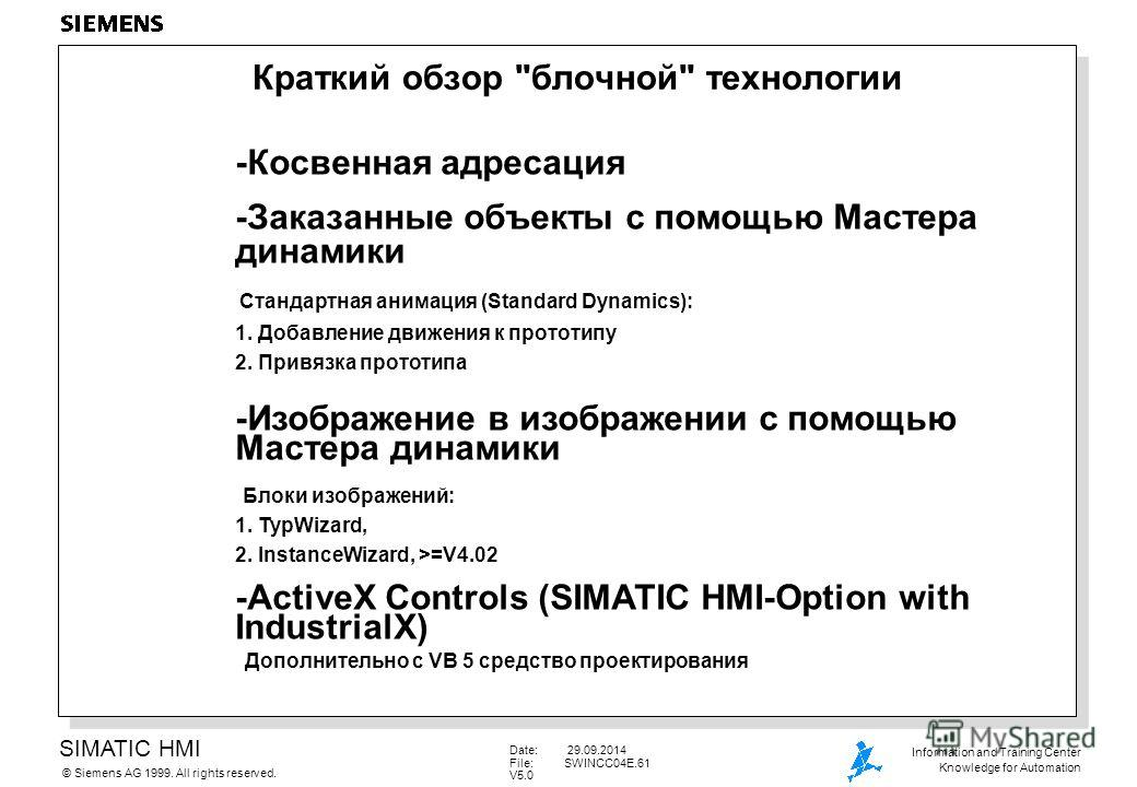 SIMATIC HMI Siemens AG 1999. All rights reserved.© Information and Training Center Knowledge for Automation Date: 29.09.2014 File:SWINCC04E.61 V5.0 Краткий обзор