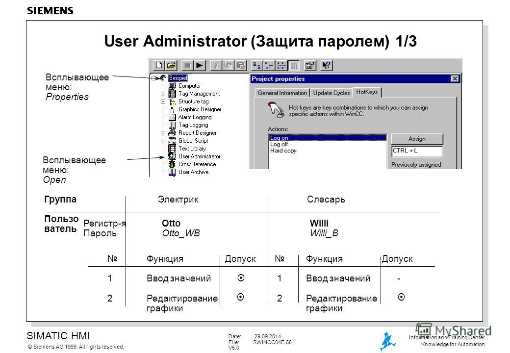 SIMATIC HMI Siemens AG 1999. All rights reserved.© Information and Training Center Knowledge for Automation Date: 29.09.2014 File:SWINCC04E.68 V5.0 User Administrator (Защита паролем) 1/3 Всплывающее меню: Properties Всплывающее меню: Open Функция До