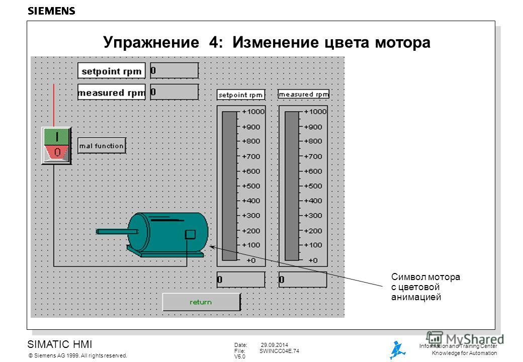 SIMATIC HMI Siemens AG 1999. All rights reserved.© Information and Training Center Knowledge for Automation Date: 29.09.2014 File:SWINCC04E.74 V5.0 Упражнение 4: Изменение цвета мотора Символ мотора с цветовой анимацией