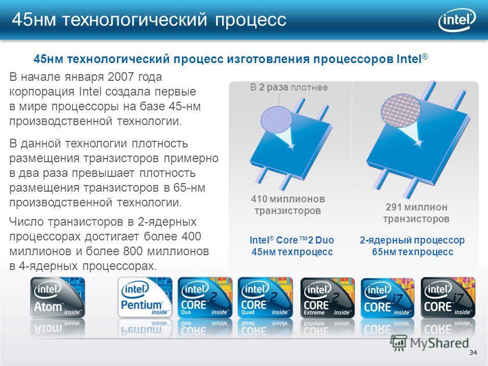 34 45 нм технологический процесс Intel ® Core2 Duo 45 нм техпроцесс 2-ядерный процессор 65 нм техпроцесс 410 миллионов транзисторов 291 миллион транзисторов В 2 раза плотнее В данной технологии плотность размещения транзисторов примерно в два раза пр