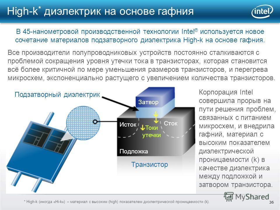 36 High-k * диэлектрик на основе гафния В 45-нанометровой производственной технологии Intel ® используется новое сочетание материалов подзатворного диэлектрика High-k на основе гафния. Корпорация Intel совершила прорыв на пути решения проблем, связан