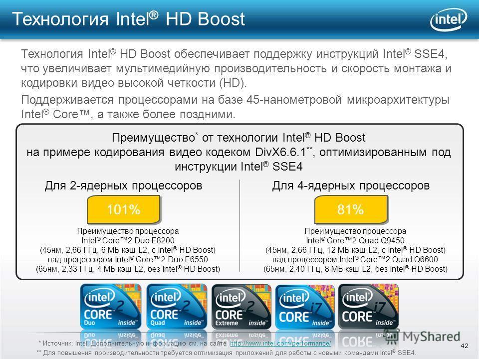 42 Технология Intel ® HD Boost Технология Intel ® HD Boost обеспечивает поддержку инструкций Intel ® SSE4, что увеличивает мультимедийную производительность и скорость монтажа и кодировки видео высокой четкости (HD). Поддерживается процессорами на ба