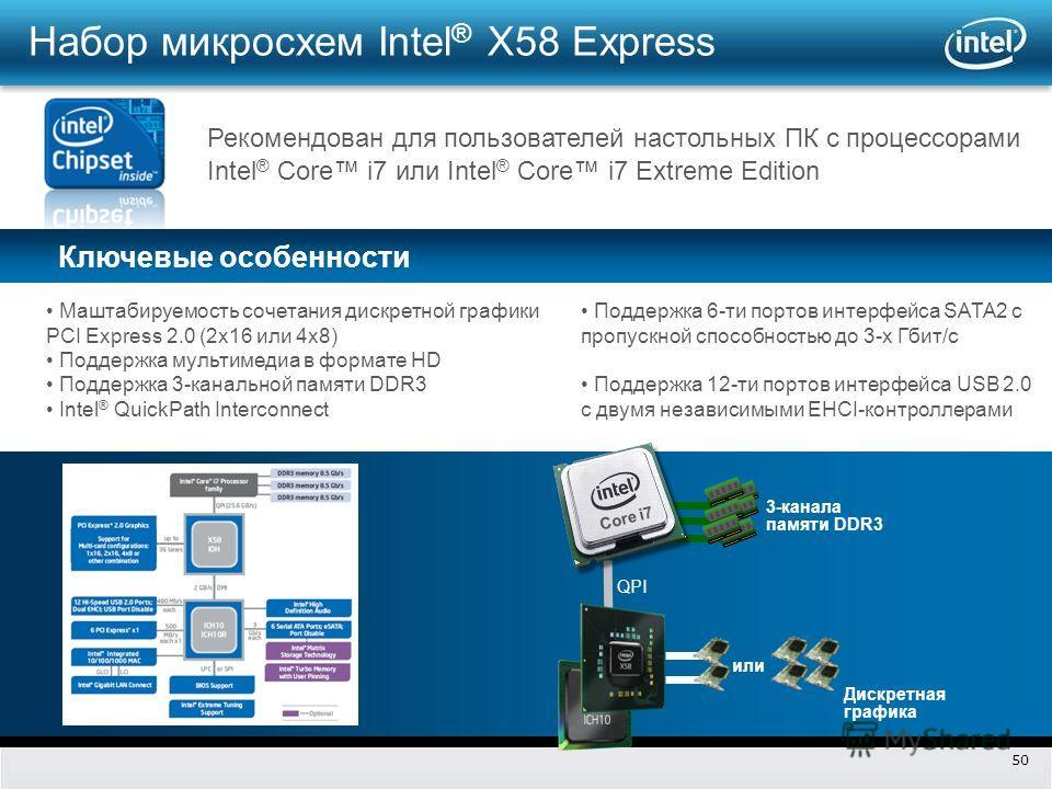50 Ключевые особенности Рекомендован для пользователей настольных ПК с процессорами Intel ® Core i7 или Intel ® Core i7 Extreme Edition QPI Дискретная графика 3-канала памяти DDR3 или Core i7 Набор микросхем Intel ® X58 Express Маштабируемость сочета