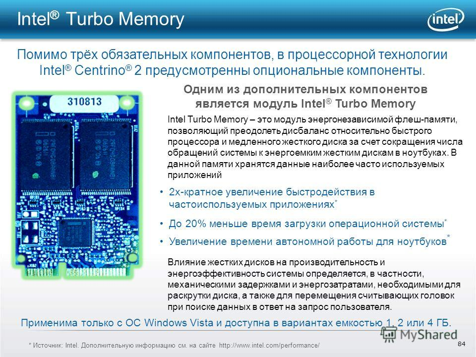 84 Intel ® Turbo Memory Помимо трёх обязательных компонентов, в процессорной технологии Intel ® Centrino ® 2 предусмотренны опциональные компоненты. Одним из дополнительных компонентов является модуль Intel ® Turbo Memory Влияние жестких дисков на пр