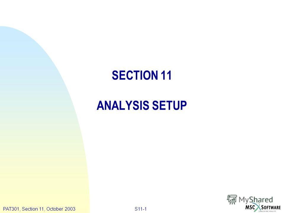 S11-1PAT301, Section 11, October 2003 SECTION 11 ANALYSIS SETUP