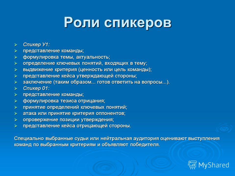 Роли спикеров Спикер У1: Спикер У1: представление команды; представление команды; формулировка темы, актуальность; формулировка темы, актуальность; определение ключевых понятий, входящих в тему; определение ключевых понятий, входящих в тему; выдвижен