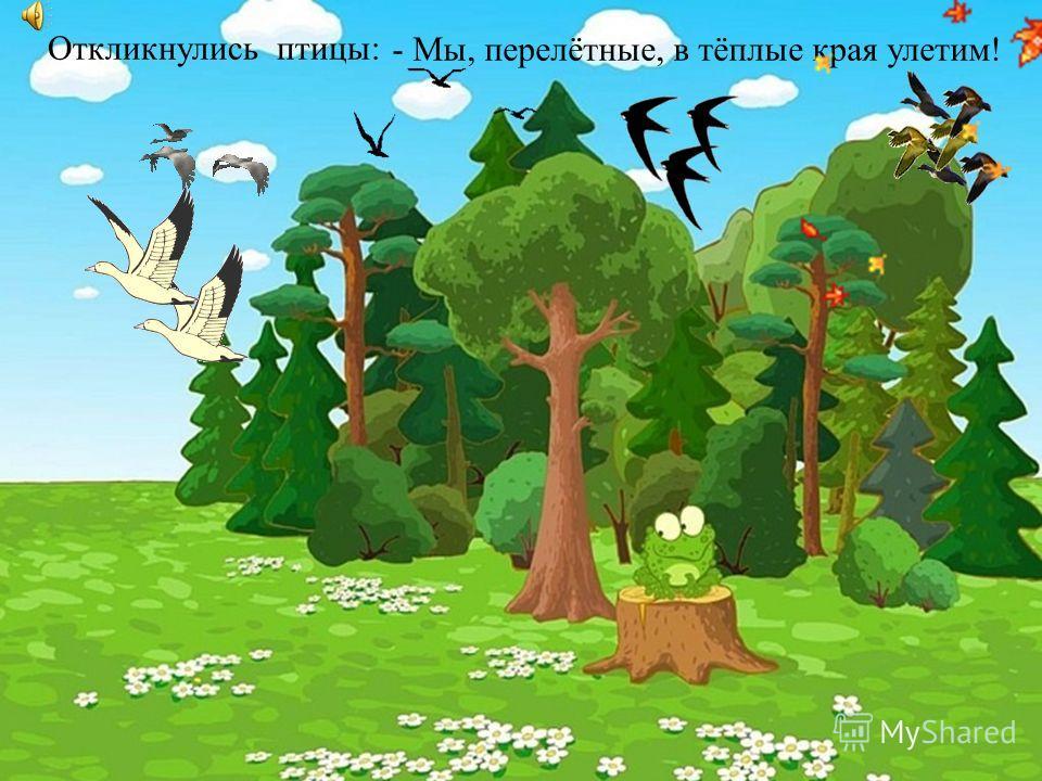 Откликнулись птицы:- Мы, перелётные, в тёплые края улетим!