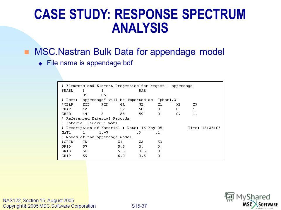 S15-37 NAS122, Section 15, August 2005 Copyright 2005 MSC.Software Corporation n MSC.Nastran Bulk Data for appendage model u File name is appendage.bdf CASE STUDY: RESPONSE SPECTRUM ANALYSIS