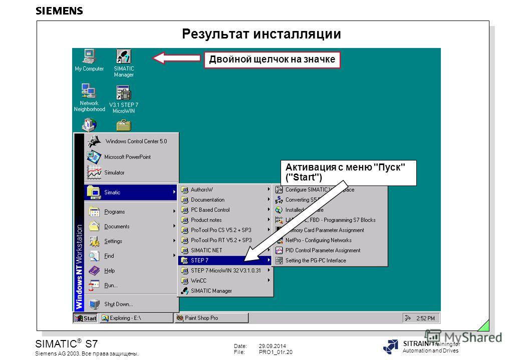 Date:29.09.2014 File:PRO1_01r.20 SIMATIC ® S7 Siemens AG 2003. Все права защищены. SITRAIN Training for Automation and Drives Результат инсталляции Двойной щелчок на значке Активация с меню Пуск (Start)