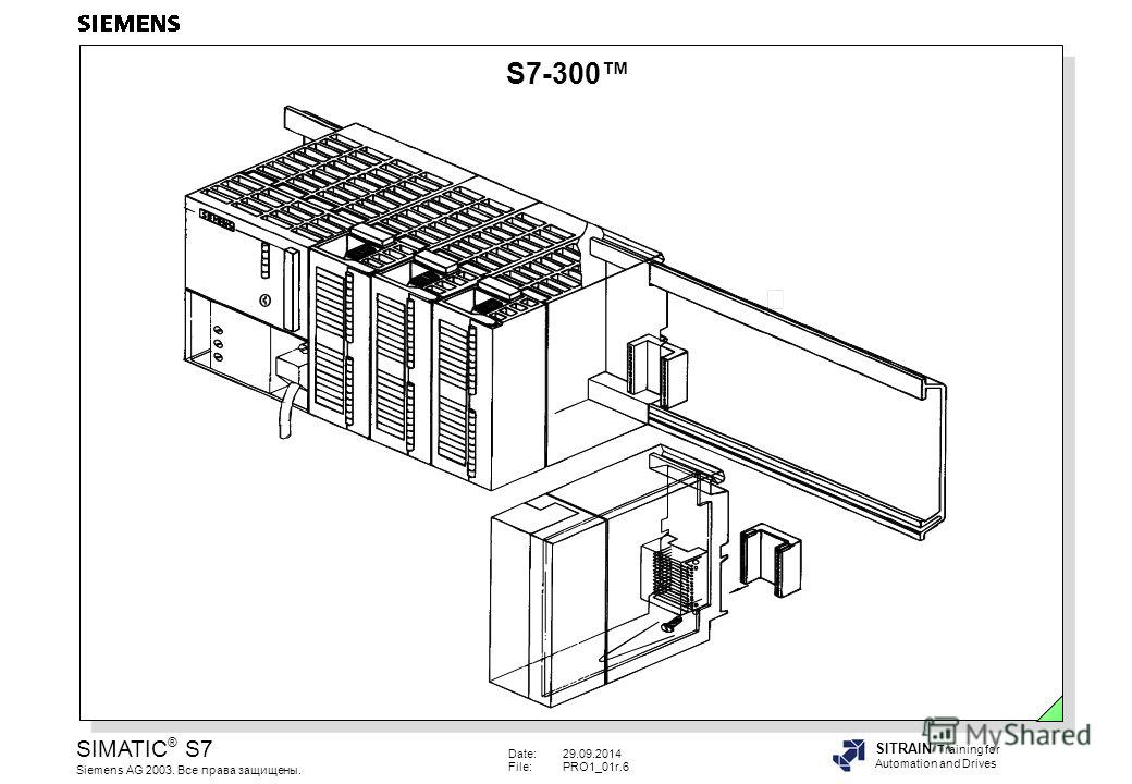 Date:29.09.2014 File:PRO1_01r.6 SIMATIC ® S7 Siemens AG 2003. Все права защищены. SITRAIN Training for Automation and Drives S7-300