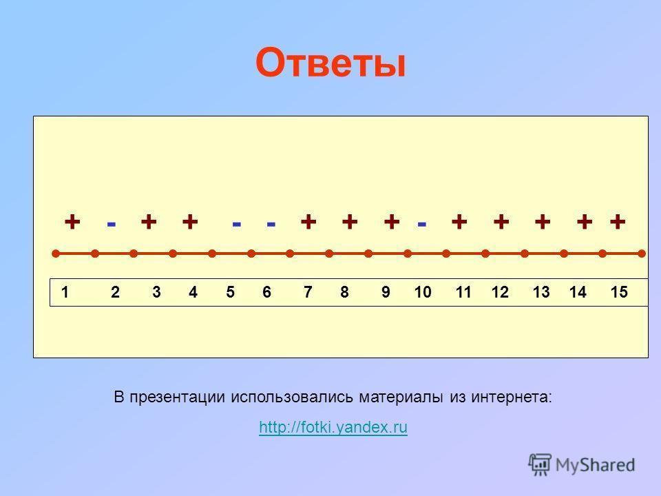 Ответы + - + + - - + + + - + + + + + 1 2 3 4 5 6 7 8 9 10 11 12 13 14 15 В презентации использовались материалы из интернета: http://fotki.yandex.ru