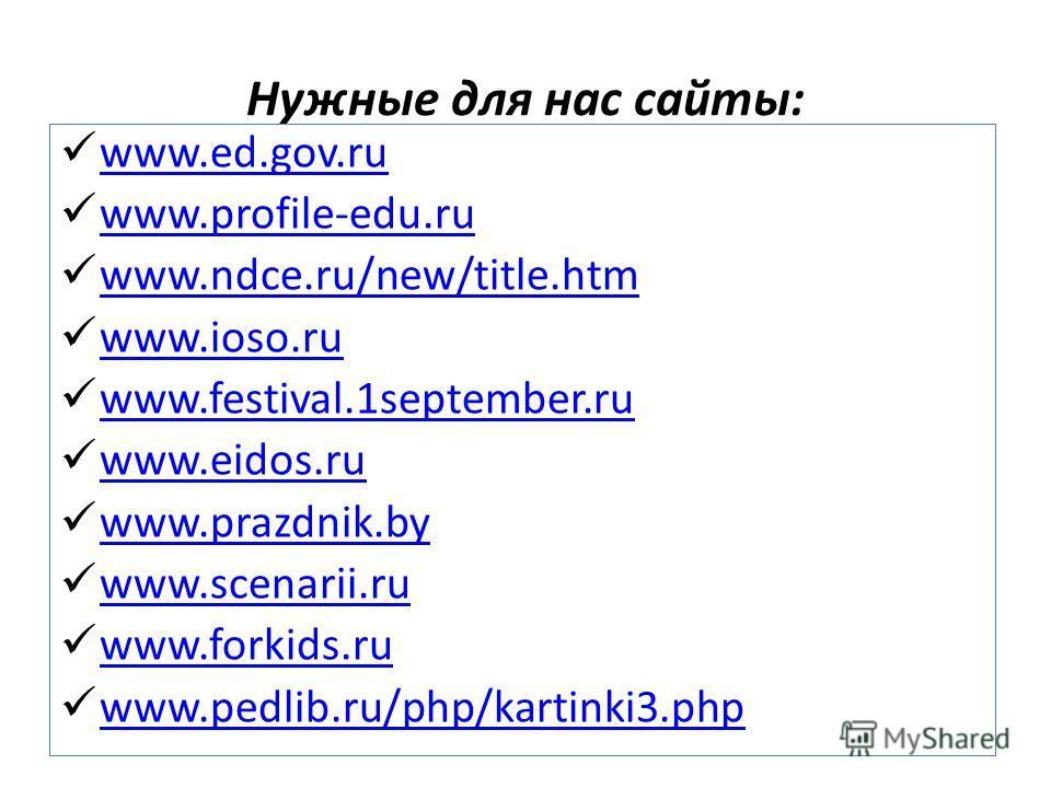 Нужные для нас сайты: www.ed.gov.ru www.profile-edu.ru www.ndce.ru/new/title.htm www.ioso.ru www.festival.1september.ru www.eidos.ru www.prazdnik.by www.scenarii.ru www.forkids.ru www.pedlib.ru/php/kartinki3.php