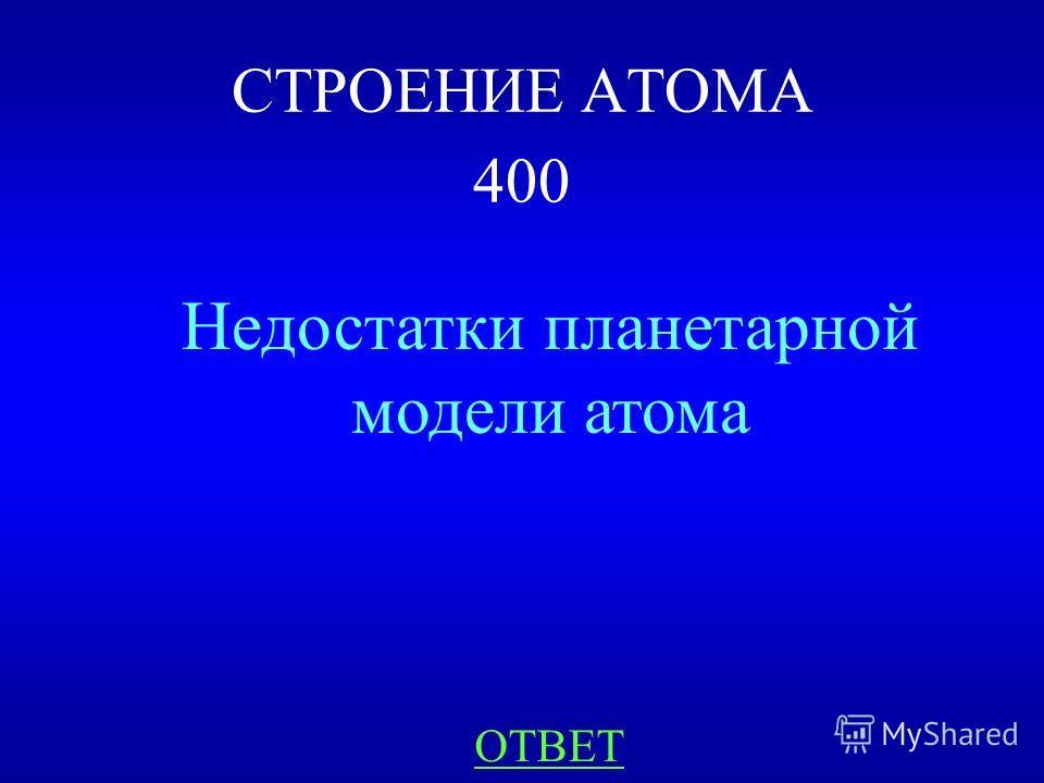 Планетарная модель атома НАЗАДВЫХОД