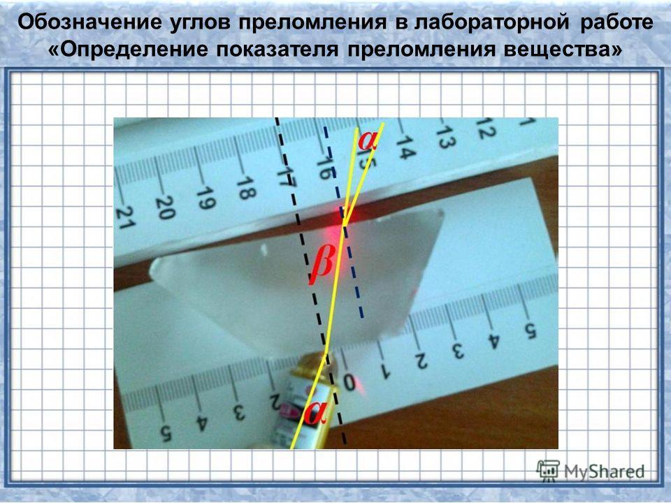 Обозначение углов преломления в лабораторной работе «Определение показателя преломления вещества»