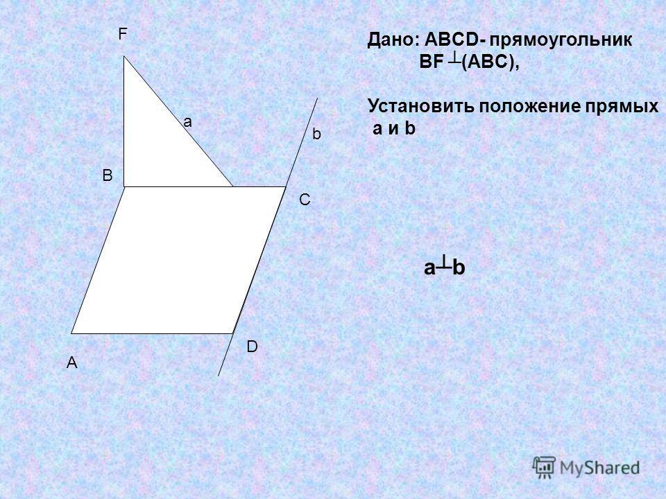 A B C D F a b Дано: ABCD- прямоугольник BF (ABC), Установить положение прямых a и b abab