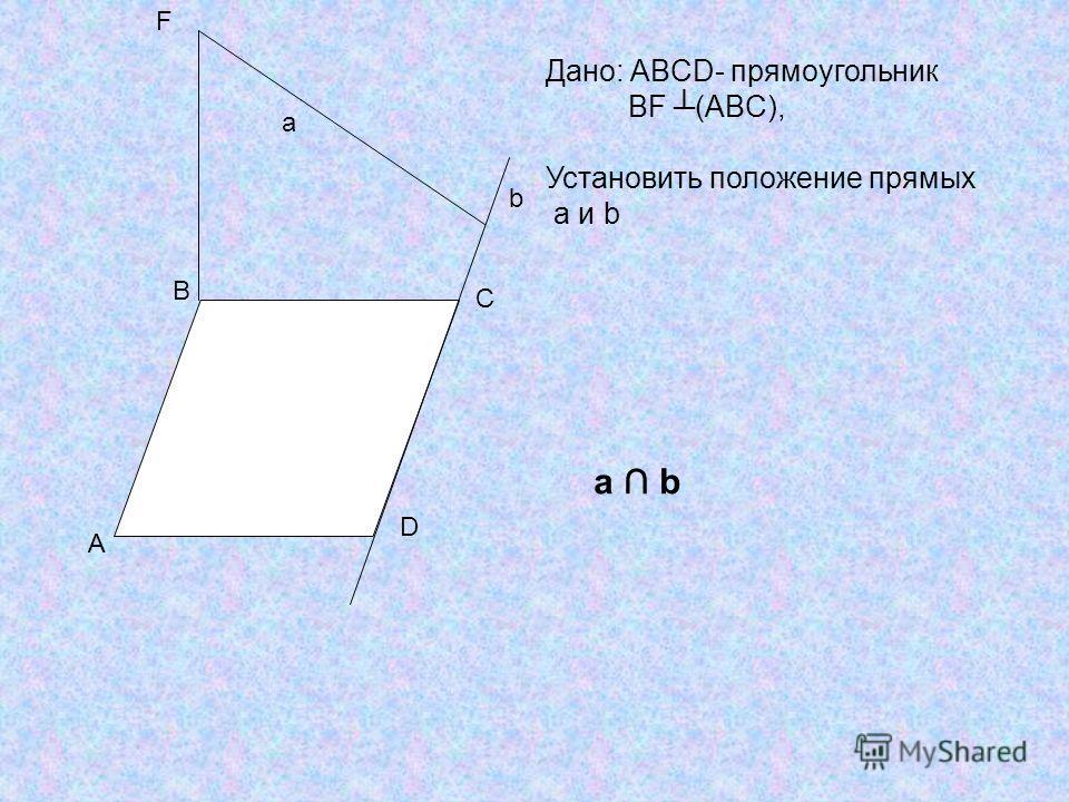 A B C D F b a Дано: ABCD- прямоугольник BF (ABC), Установить положение прямых a и b a b