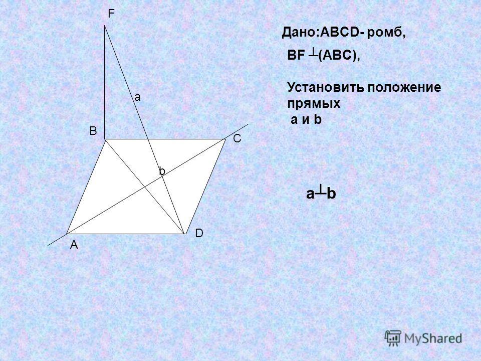 A B C D F a b Дано:ABCD- ромб, BF (ABC), Установить положение прямых a и b abab