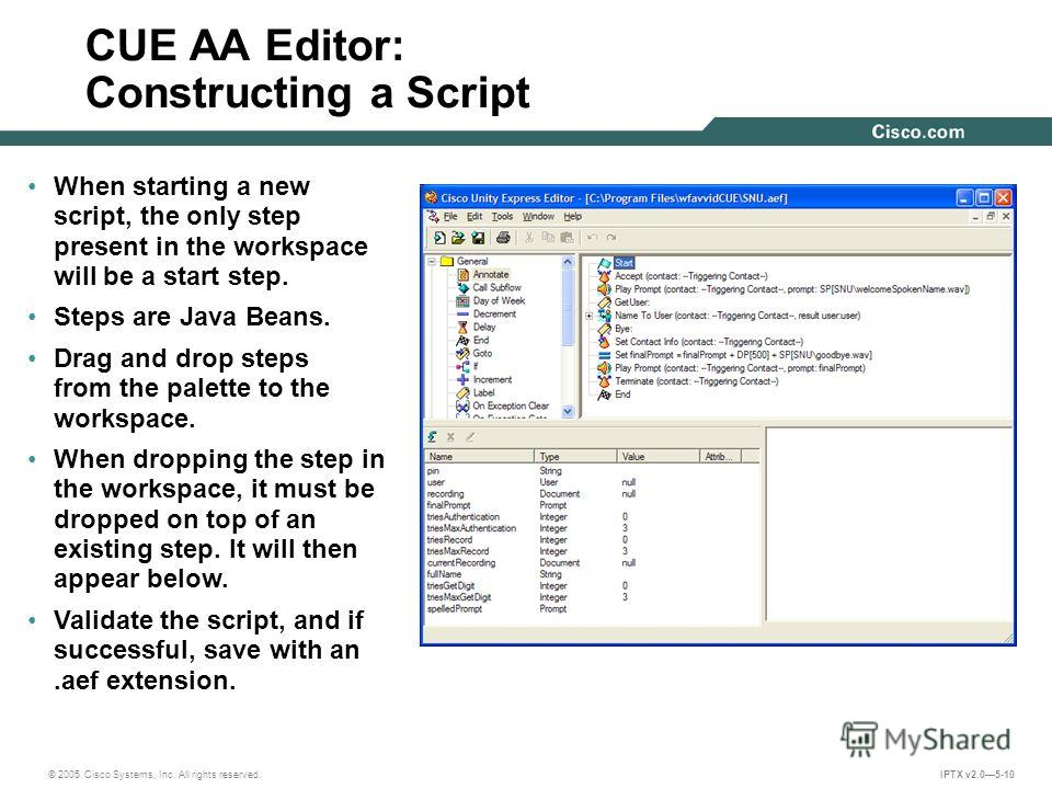 © 2005 Cisco Systems, Inc. All rights reserved. IPTX v2.05-10 CUE AA Editor: Constructing a Script When starting a new script, the only step present in the workspace will be a start step. Steps are Java Beans. Drag and drop steps from the palette to