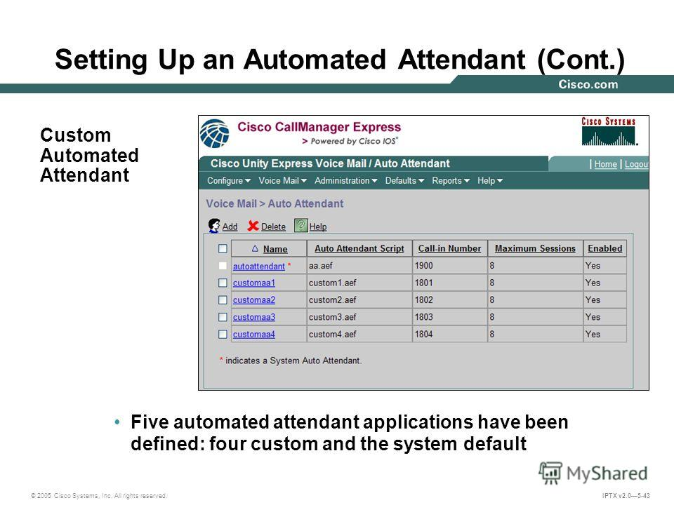 © 2005 Cisco Systems, Inc. All rights reserved. IPTX v2.05-43 Five automated attendant applications have been defined: four custom and the system default Custom Automated Attendant Setting Up an Automated Attendant (Cont.)