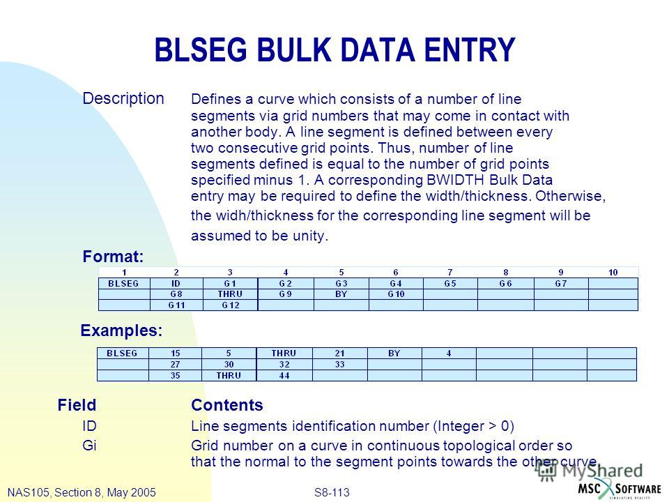 S8-113NAS105, Section 8, May 2005 BLSEG BULK DATA ENTRY Description Defines a curve which consists of a number of line segments via grid numbers that may come in contact with another body. A line segment is defined between every two consecutive grid