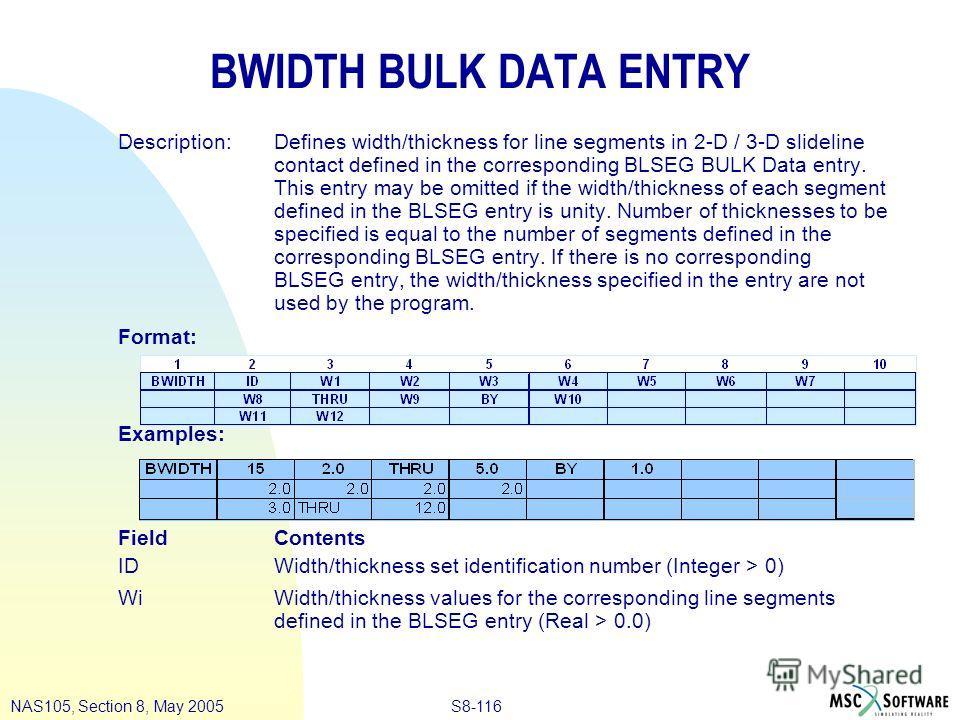 S8-116NAS105, Section 8, May 2005 BWIDTH BULK DATA ENTRY Description:Defines width/thickness for line segments in 2-D / 3-D slideline contact defined in the corresponding BLSEG BULK Data entry. This entry may be omitted if the width/thickness of each