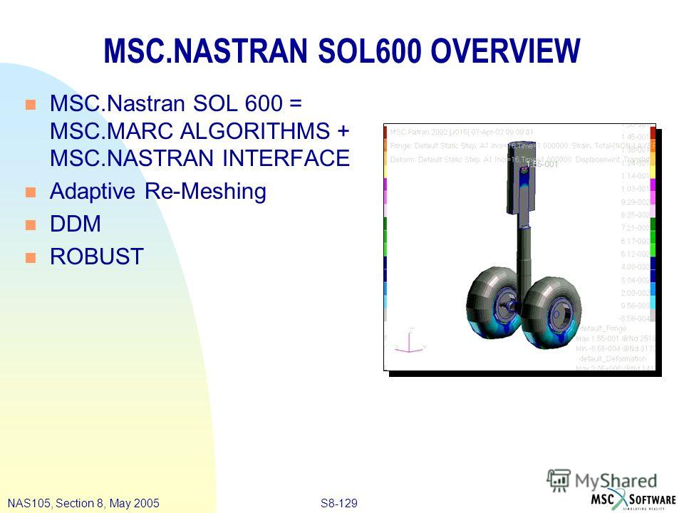 S8-129NAS105, Section 8, May 2005 MSC.NASTRAN SOL600 OVERVIEW n MSC.Nastran SOL 600 = MSC.MARC ALGORITHMS + MSC.NASTRAN INTERFACE n Adaptive Re-Meshing n DDM n ROBUST